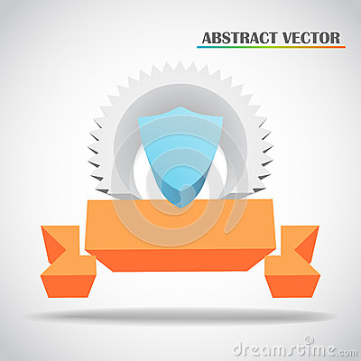 Shield and ribbon 3d vector