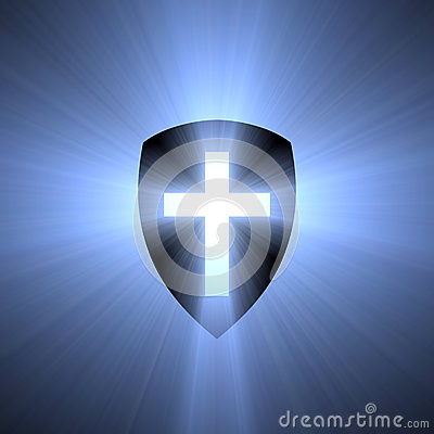Free Shield With Blue Cross Light Flare Stock Photo - 48424890