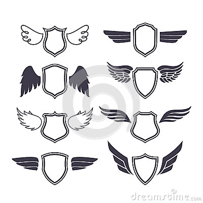 Shields With Wings Stock Vector Image 58970367