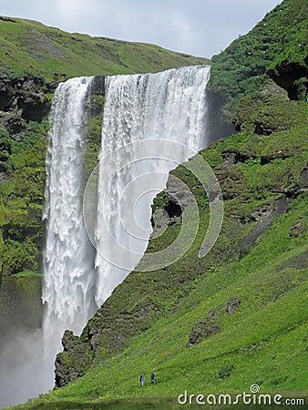 Shimmering Icelandic waterfall