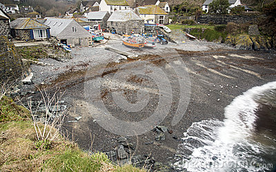 Shingle beach and fishing boats at Cadgwith