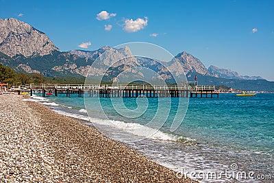 Shingle beach and sea view in Kemer, Turkey.