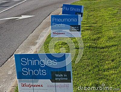Shingles, Pneumonia, and Flu Shot Signs Editorial Photography