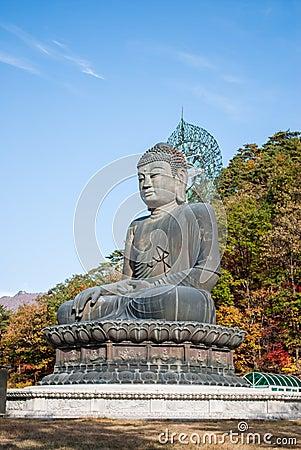 在Shinheungsa寺庙, Seoraksan,韩国的菩萨雕象
