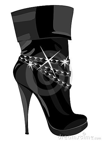 Shining black boots with heels