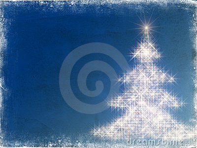 Shining christmas tree with frame in blue