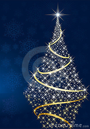 Shining Christmas tree and stars