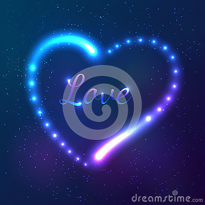 Shining cosmic neon heart with sign Love