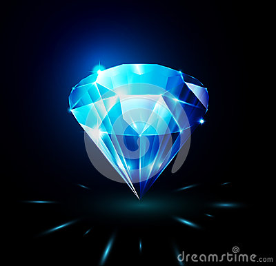 Shining diamond on dark background