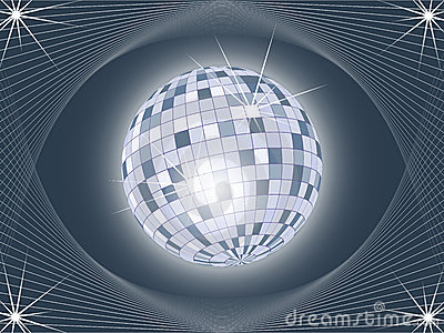 Shining disco ball on abstract background