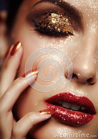 Shining face makeup