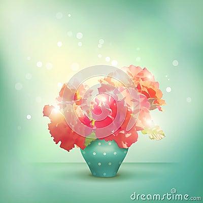 Shining flowers roses in vase
