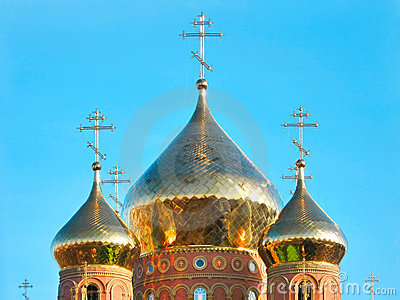 Shining golden domes of St.Vladimir Cathedral