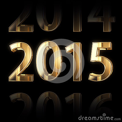 3D golden 2015 year background