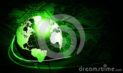 Shining green globe with dollars