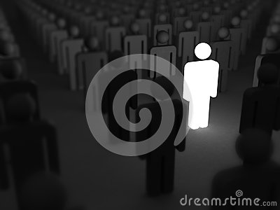 Shining Human Icon. Stand Out From Crowd and Different Concept Stock Photo