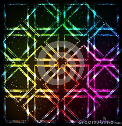 Free Shining Neon Lights Rainbow Squares Background Stock Photo - 37266660
