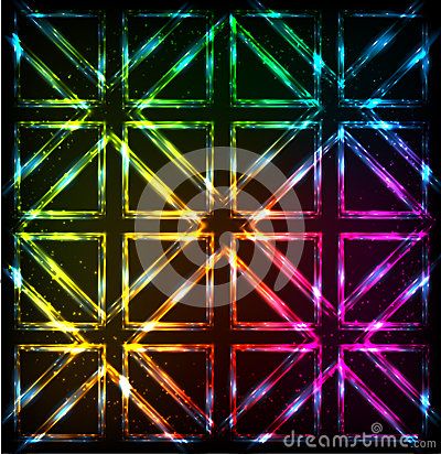 Free Shining Neon Lights Rainbow Squares Background Stock Photography - 37274982