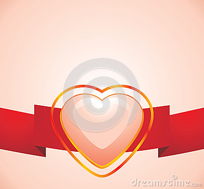 Shining pink heart on the red ribbon
