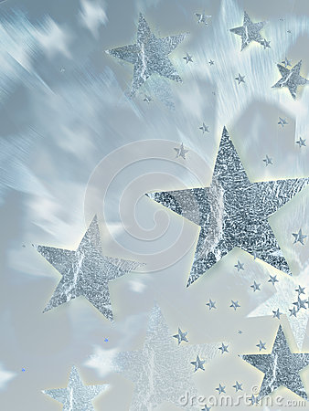 Shining silver stars with radiance