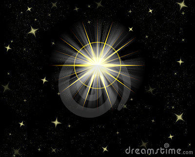 Shining star flare night sky