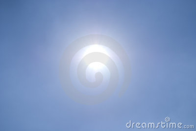 Shining sun in a clear blue sky