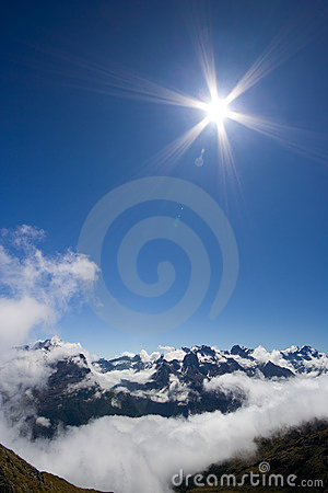Shining Sun over Mountains