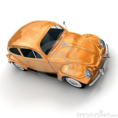 Shinny orange European vintage car