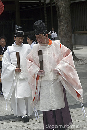 Shinto priests, Tokyo, Japan Editorial Photo
