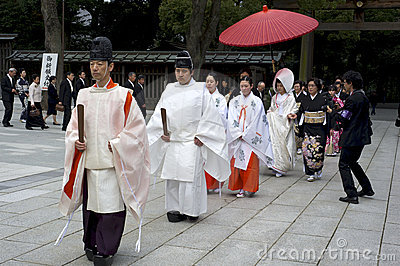 Shinto wedding ceremony at Meiji shrine in Tokyo Editorial Stock Photo