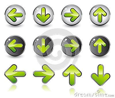 Shiny arrow icons