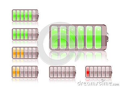 Shiny battery icon set