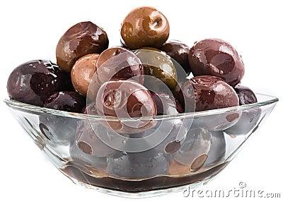 Shiny black olives