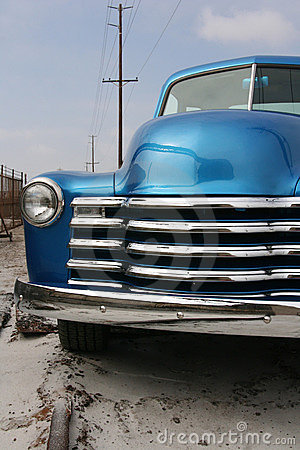 Shiny blue classic pickup truck