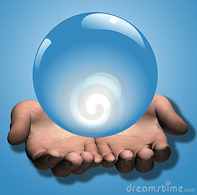 Free Shiny Blue Crystal Ball In Hands Stock Photography - 4197562