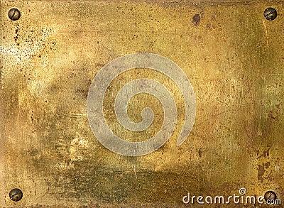 Shiny brass metal plate