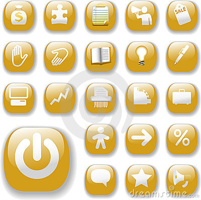 Shiny Buttons Icons Business Website Set Gold