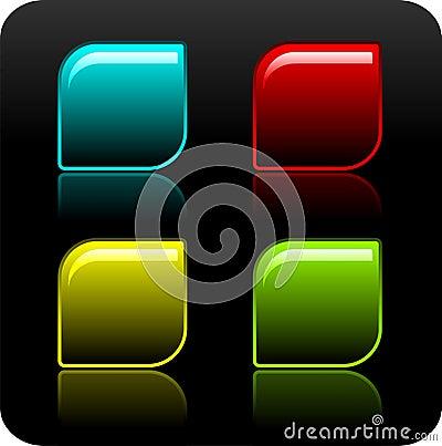Shiny color button set on black background.
