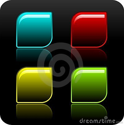 Free Shiny Color Button Set On Black Background. Stock Photo - 5351130