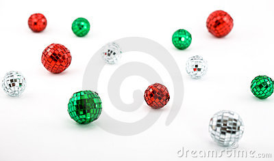 Shiny Disco Balls in Christmas Colors