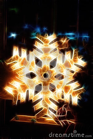Free Shiny Electric Christmas Snow Flake Symbol, On Dark Nocturnal Background. Royalty Free Stock Image - 53953916