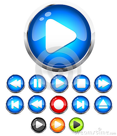 Shiny EPS10 Audio buttons /play button, stop, rec, rewind, eject, next, previous  buttons