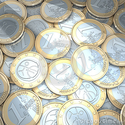 Shiny euro coins