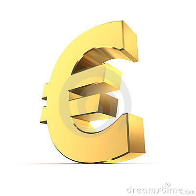 Shiny Euro Symbol - Golden Surface