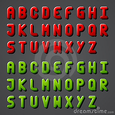 Shiny font alphabet