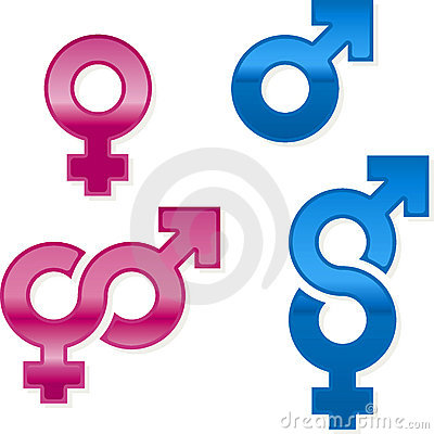 Shiny gender symbols