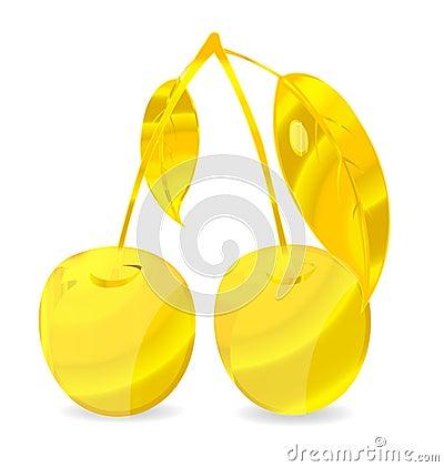 Shiny gold cherry symbol