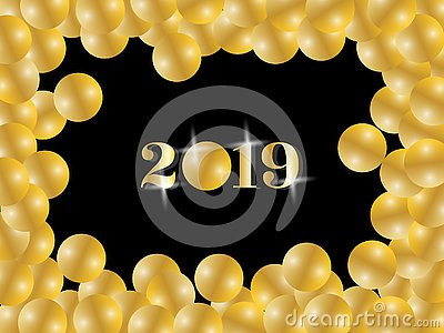 Shiny golden Happy new year 2019 greeting text inside gold balloons framing in black background Vector Illustration