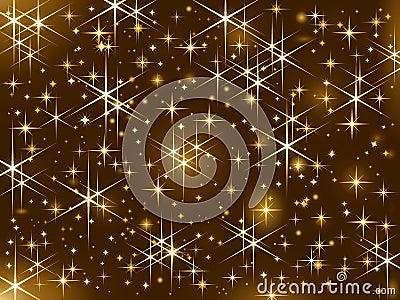Shiny golden stars, Christmas sparkle, starry sky