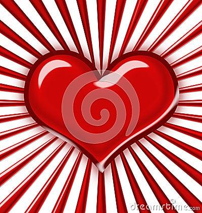 Shiny heart with rays